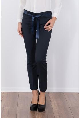 Modaverda Bayan Saten Kuşaklı Pantolon Lacivert Renk