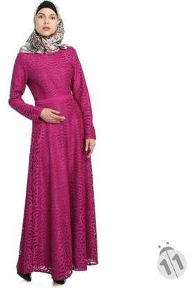 Modaverda Dantelli Tessettür Elbise Fuşya Renk