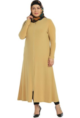 Modaverda Sandy Kumaş Fermuarlı Elbise Hardal Renk