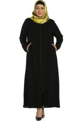 Modaverda Omuzu Ve Cebi İşlemeli Ferace Siyah Renk