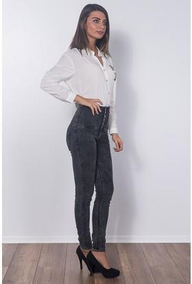 Modaverda Bayan 6 Düğme Yüksel Bel Kot Pantolon Antrasit Renk