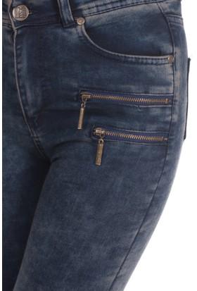 Modaverda Bayan Önü Fermuarlı Kot Pantolon Füme Renk