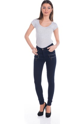 Modaverda Bayan Önü Fermuarlı Kot Pantolon Lacivert Renk