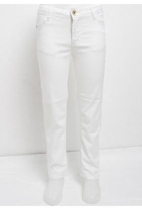Ottomama Kız Çocuk Keten Pantolon Beyaz Renk