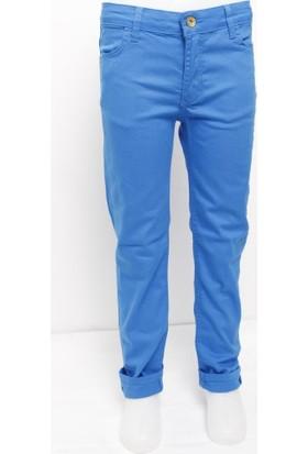 Ottomama Kız Çocuk Keten Pantolon Saks Mavi Renk
