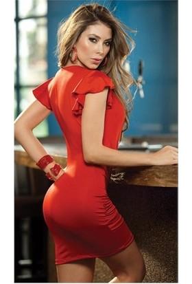 Merry See 2451 Kırmızı Göğüs Dekolteli Mini Elbise