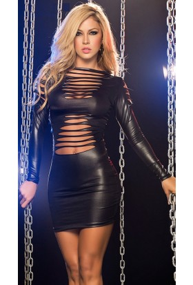 Merry See 2941 Siyah Deri Lazer Kesim Mini Elbise