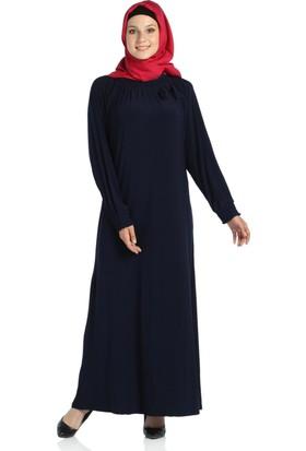 Modaverda Sandy Yakası Büzgülü Tesettür Elbise