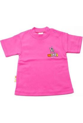 Miniş Düz Renk Kısa Kol Çocuk Tişörtü Fuşya