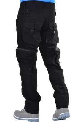 Erkek Kargo Pantolon Yan Cepli Pantolon Siyah