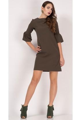 İroni İspanyol Kollu Haki Mini Elbise