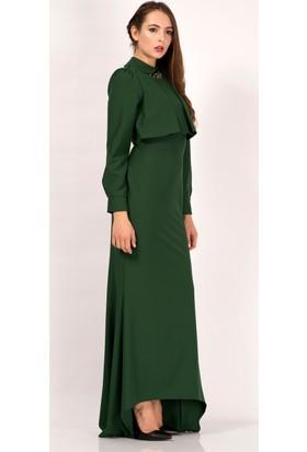 İroni Kolye Detaylı Uzun Kollu Yeşil Uzun Elbise