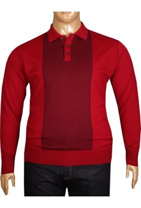 Fala Jeans Büyük Beden Polo Yaka Kazak Kırmızı