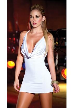 Merry See 2957 Beyaz Sırtı Metal Aksesuarlı Beyaz Mini Elbise