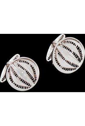 Sümer Telkari Elişi Oval Gümüş Kol Düğmesi 02