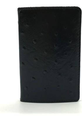 Tony Bellucci M4-959 Devekuşu Siyah Gerçek Deri Kartvizitlik