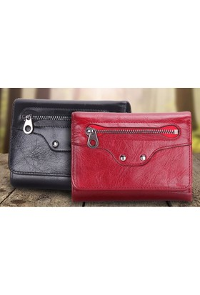 Casuha Trifold Wallet Fashion Ladies Genuine Leather Siyah