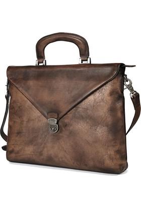 Casuha Fashion Retro Genuine Leather Bag Top quality Business Brief, Koyu kahve