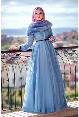 Muslima Wear Fransız Şifon Elbise Sis Mavi