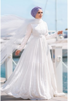 Muslima Wear Pamuk Elbise Beyaz