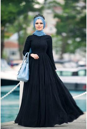 Muslima Wear Pamuk Elbise Siyah