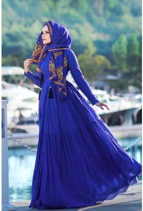 Muslima Wear Pamuk Elbise Saks Mavi