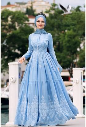 Muslima Wear Pamuk Elbise Sis Mavi