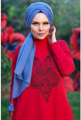 Muslima Wear Queen Püsküllü Şal İndigo Mavi