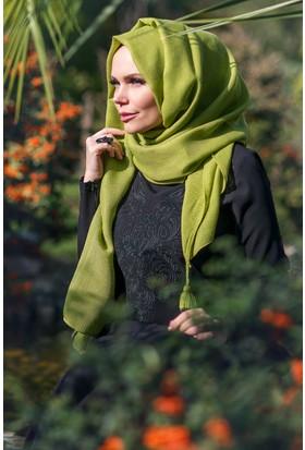 Muslima Wear Queen Püsküllü Şal Lime