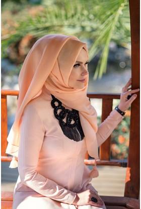Muslima Wear Queen Püsküllü Şal Pudra
