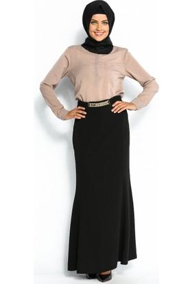 Zincir Süslemeli Balık Etek - Siyah - Sevilay Giyim