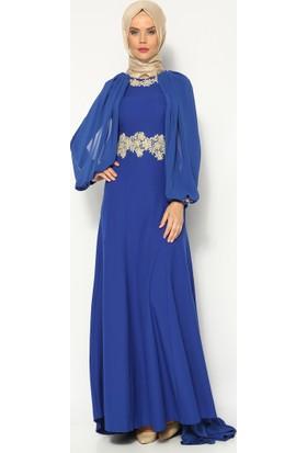 Güpür Süslemeli Abiye Elbise - Saks - Mileny