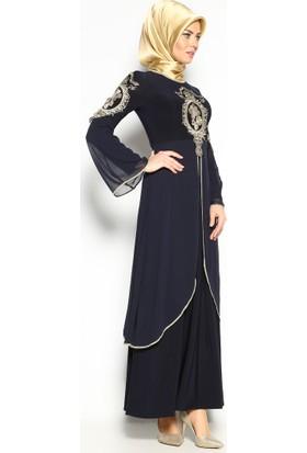 Güpürlü Abiye Elbise - Lacivert - Bürün