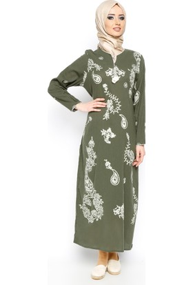 Şile Bezi Baskılı Elbise - Haki - Çkr