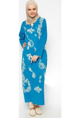 Şile Bezi Baskılı Elbise - Turkuaz - Çkr