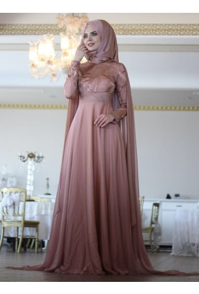 Pelerin Abiye Elbise - Bakır - Nurbanu Kural