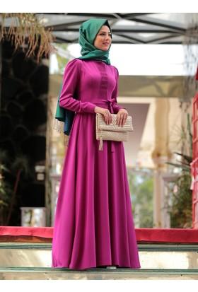 Petek İşlemeli Elbise - Mürdüm - Nurkombin