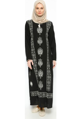 Şile Bezi Baskılı Elbise - Siyah - Çıkrıkçı