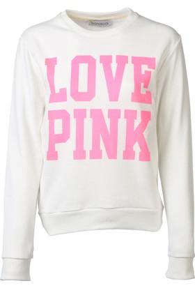 Bonalodi Beyaz Pink Bayan Sweatshirt