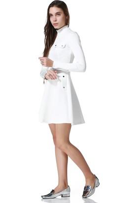 Bonalodi Beyaz Fermuarlı Tasarım Bayan Elbise