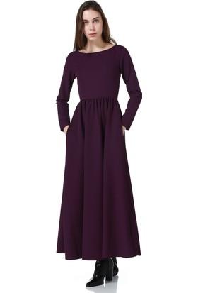 Bonalodi Mor Maxi Cepli Uzun Bayan Elbise