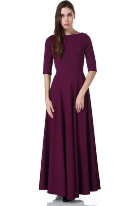 Bonalodi Mor Fakir Kol Maxi Uzun Bayan Elbise