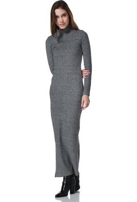 Bonalodi Balık Sırtı Kumaş Yırtmaçlı Siyah Midi Bayan Elbise
