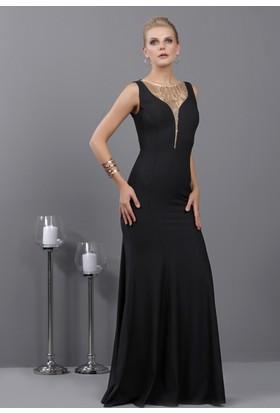 İroni Göğüs Dekoltesi Sim Tüllü Siyah Uzun Abiye Elbise