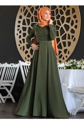 Mahperi İncili Elbise - Haki - Nurkombin