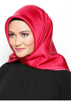 Düz Renkli İpek Eşarp - Vişne - Balse Eşarp