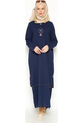 Şile Bezi Boncuk İşlemeli Elbise - Lacivert - Çkr