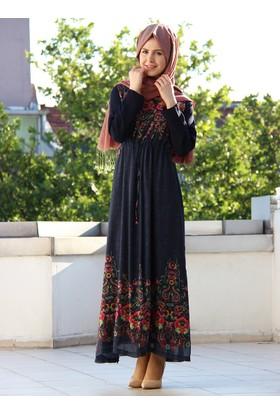 Penak Dokumalı Elbise - Lacivert - İz Otantik