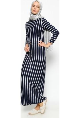 Çizgili Elbise - Lacivert - Dadali