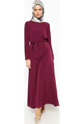 Kemerli Elbise - Mürdüm - Dadali